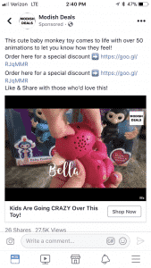 Fingerlings Facebook Ads