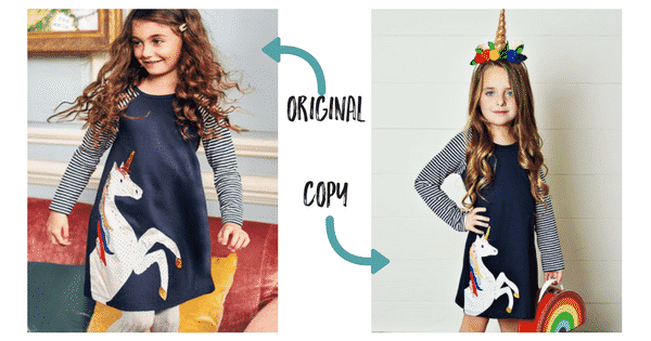 Comparison of authentic Boden vs fake Boden applique dress